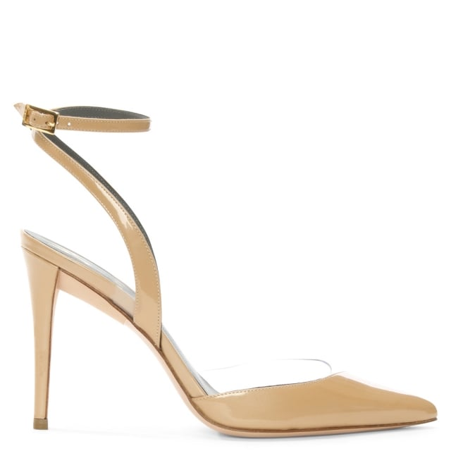 Serafina Nude Patent Leather Ankle Strap Shoe
