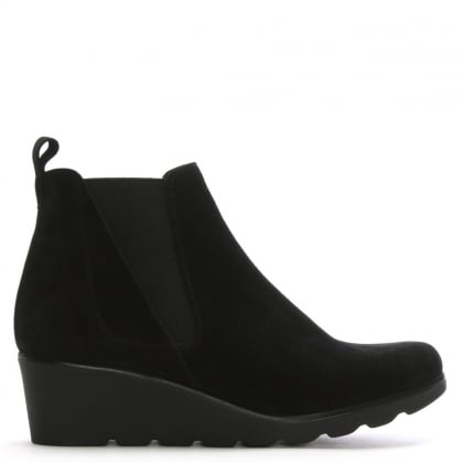 Sergeant Black Suede Low Wedge Chelsea Boots
