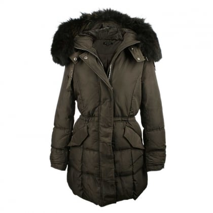 Khaki Fur Trim Hooded Puffer Parka
