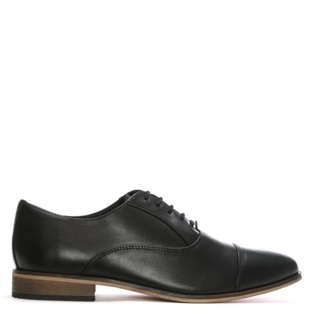 Shark Black Leather Lace Up Shoes