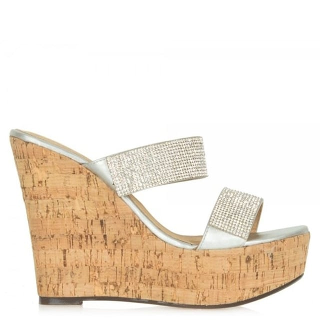 Shaymen Crystals Silver Wedge Sandal