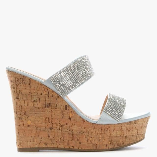 Df By Daniel Shayshay Silver Metallic Crystal Wedge Sandals