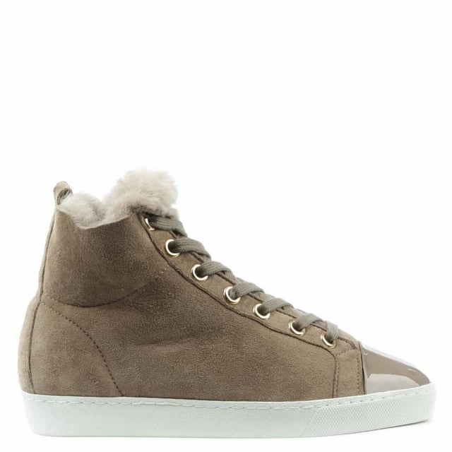 Shearl Taupe Suede Shearling Lined High Top Trainer