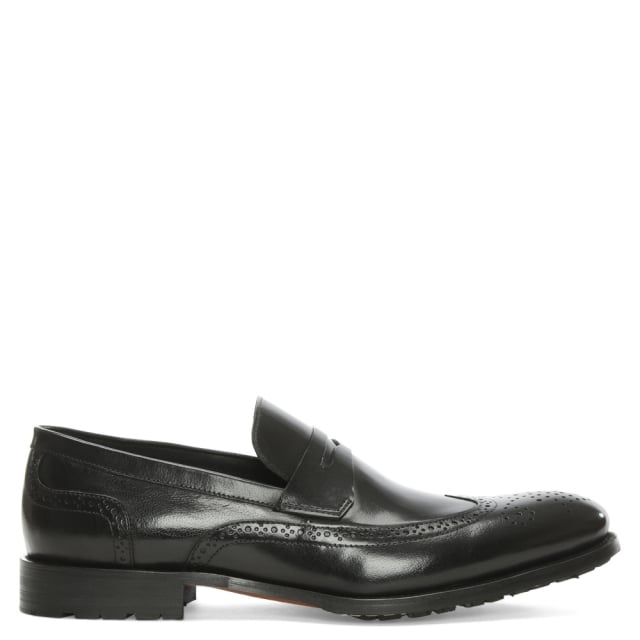 Sherborne Black Leather Brogue Loafer