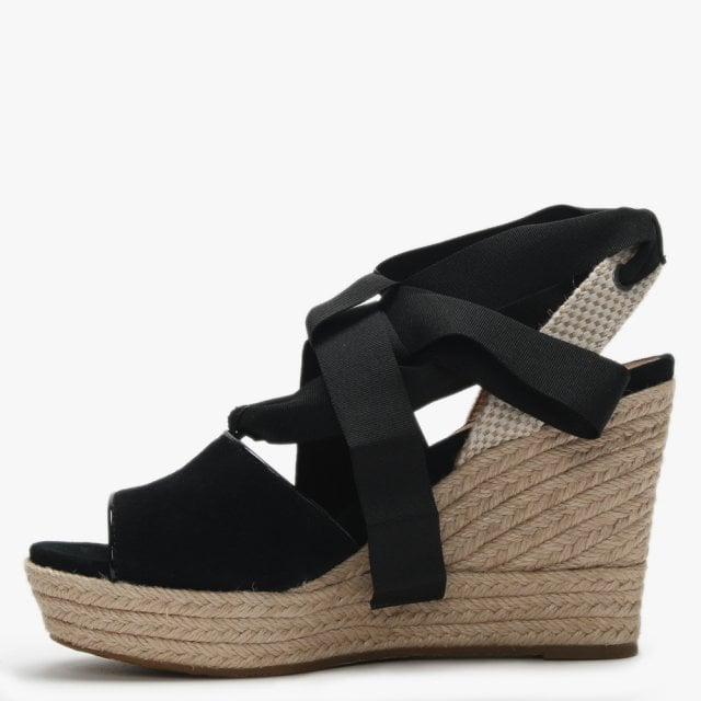 7980f107b68 Shiloh Black Suede Wedge Espadrilles