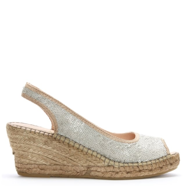 Df By Daniel Shimmer White Sequin Wedge Espadrilles