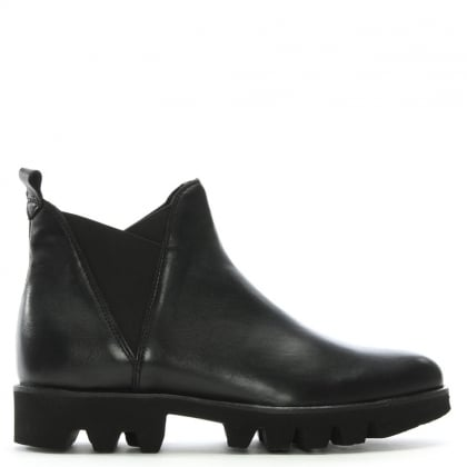 Shiner Black Leather Cleated Sole Chelsea Boots