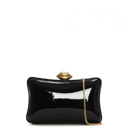 Shiny Black Lavinia Box Clutch Bag