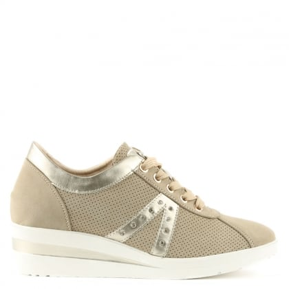 Shipton Beige Perforated Concealed Wedge Trainer