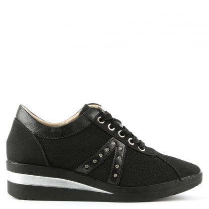 Shipton Black Perforated Concealed Wedge Trainer