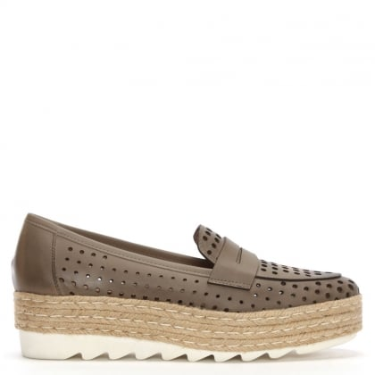 Shirlcircles Beige Leather Perforated Espadrille Loafers
