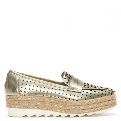 Shirlcircles Gold Leather Perforated Espadrille Loafers