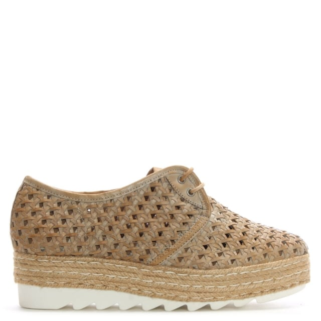 Shirlington Beige Leather Lace Up Woven Flatform Espadrilles