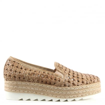 Shirlington Beige Leather Woven Espadrille Loafer