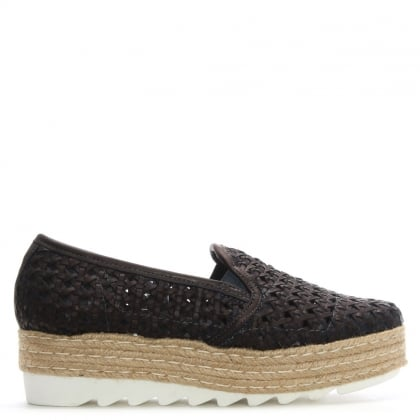 Shirlington Bronze Leather Woven Flatform Espadrilles