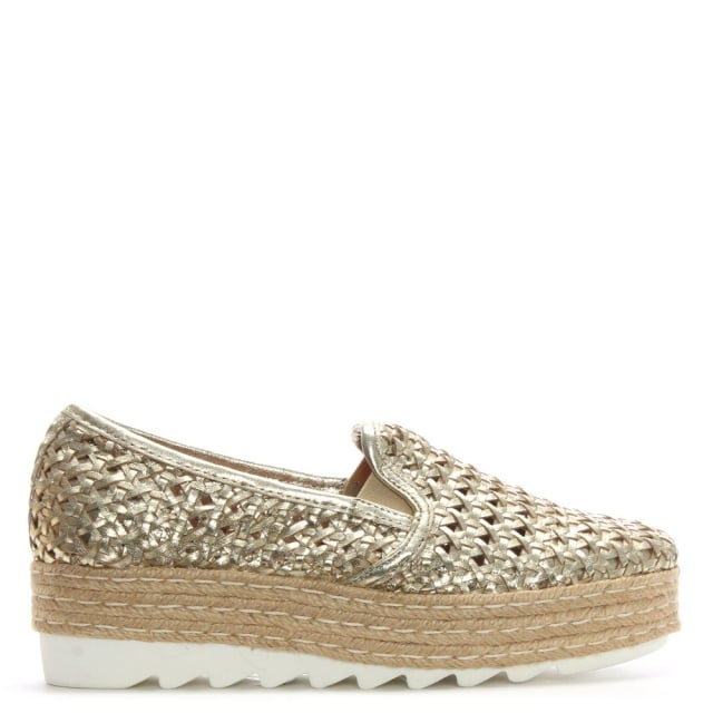 Shirlington Gold Leather Woven Flatform Espadrilles