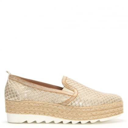 Shirlington Gold Reptile Espadrille Loafer