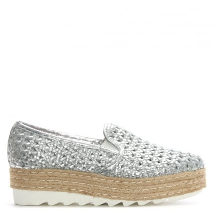 Shirlington Silver Leather Woven Flatform Espadrilles
