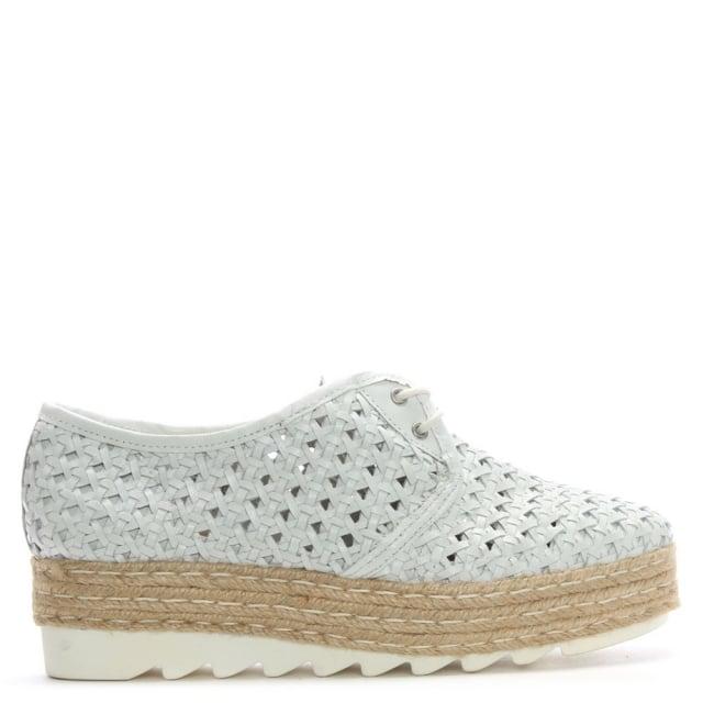 buy online bb321 e5a9a Shirlington White Leather Lace Up Woven Flatform Espadrilles
