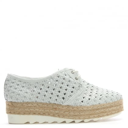 Shirlington White Leather Lace Up Woven Flatform Espadrilles