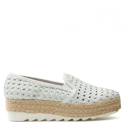 Shirlington White Leather Woven Espadrille Loafer