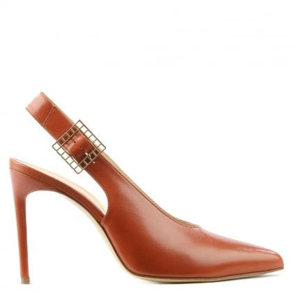 Shiya Tan Leather Sling Back Heeled Shoe