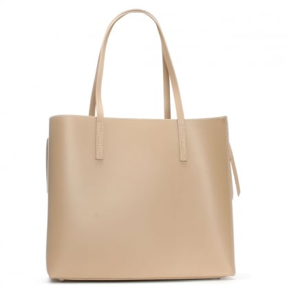 Shore Beige Leather Unlined Tote Bag