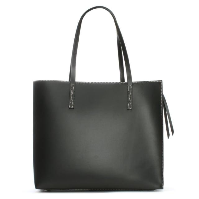 Daniel Shore Black Leather Unlined Tote Bag