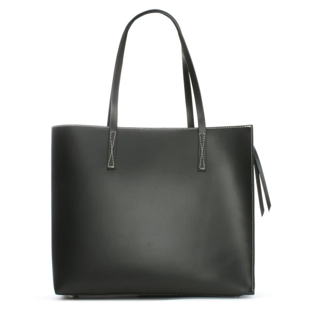 Shore Black Leather Unlined Tote Bag