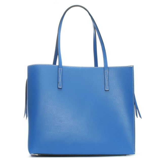Shore Blue Leather Unlined Tote Bag