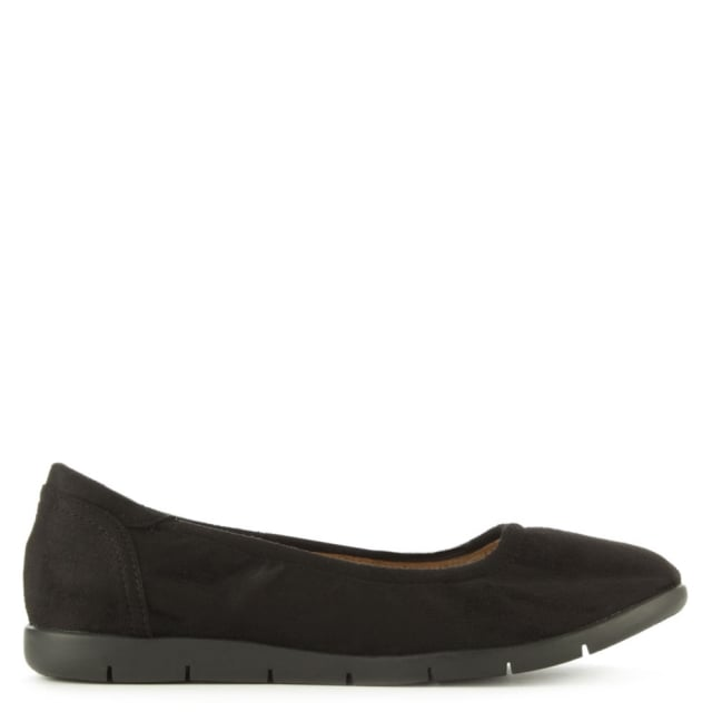 Shotwick Black Faux Suede Sporty Elasticated Pump