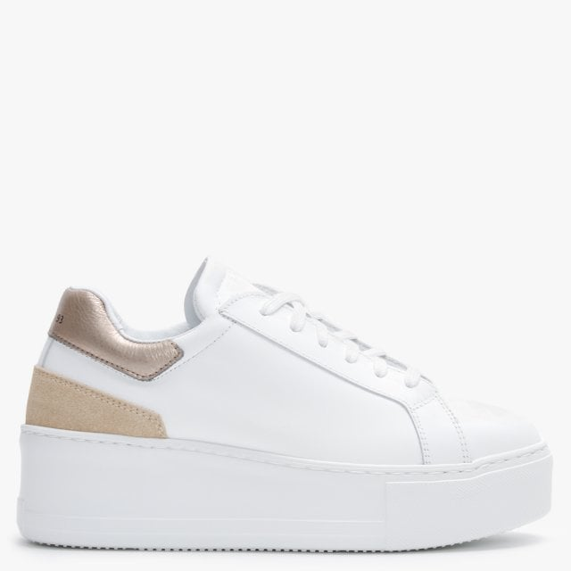 Daniel Sibley White Leather Gold Flash