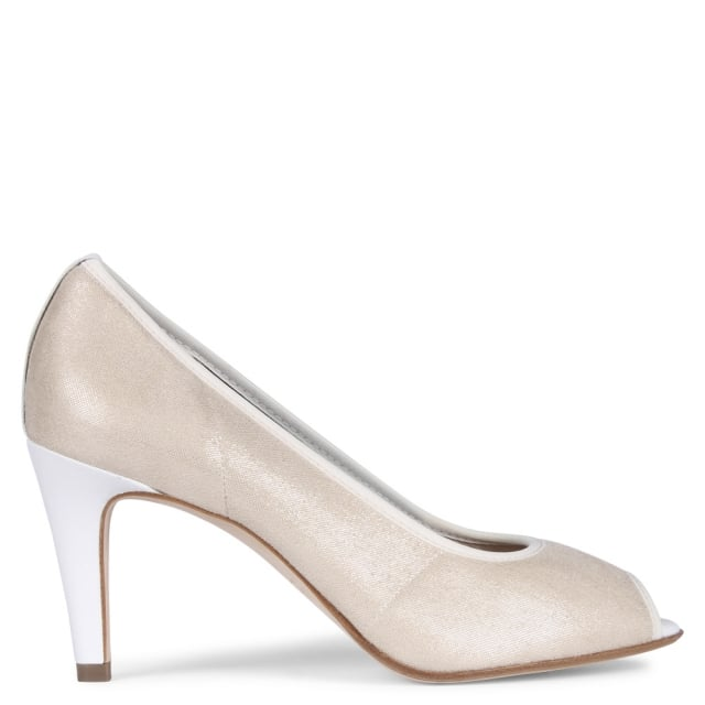 Sibylle Nude Metallic Suede Peep Toe Court Shoes