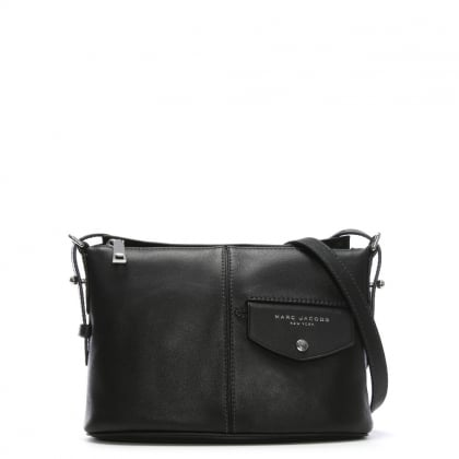 Side Sling Black Leather Cross-Body Bag