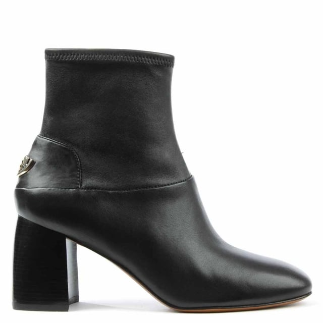 Sidney 70mm Black Leather Flared Heel Ankle Boot