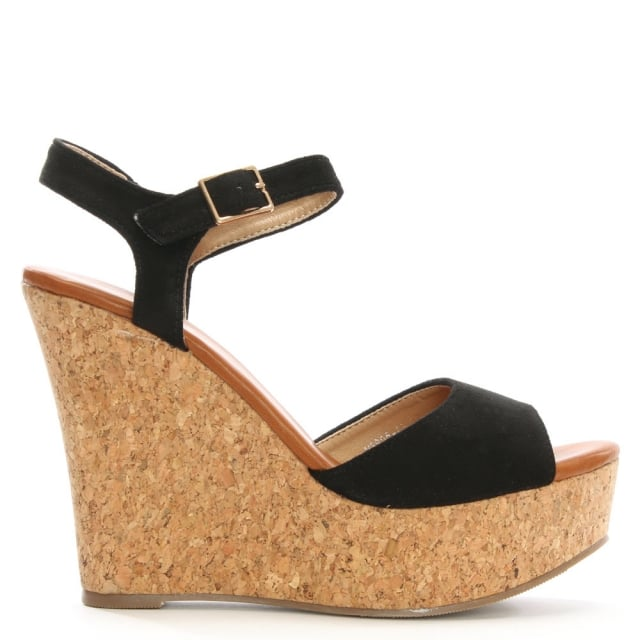 Sidra Black Cork Wedge Sandal