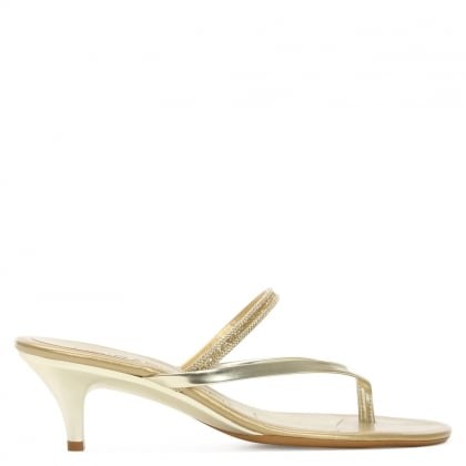Silver & Gold Metallic Toe Post Sandal