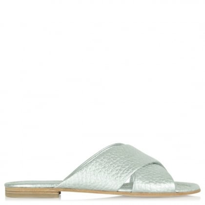 Silver Leather Burmilla Slip On Sandal