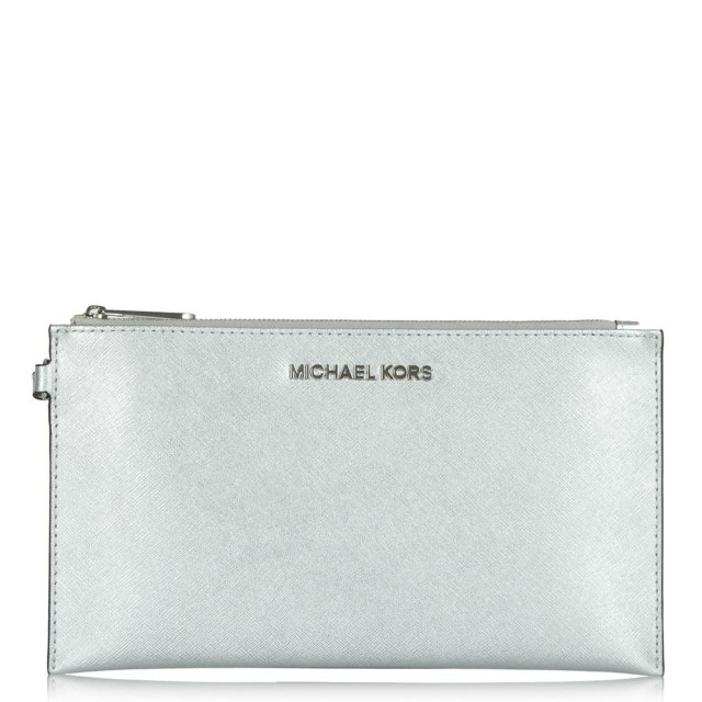 Silver Leather Large Jetset Zip Clutch