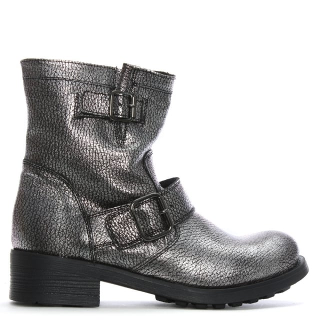 Silver Metallic Leather Biker Boots