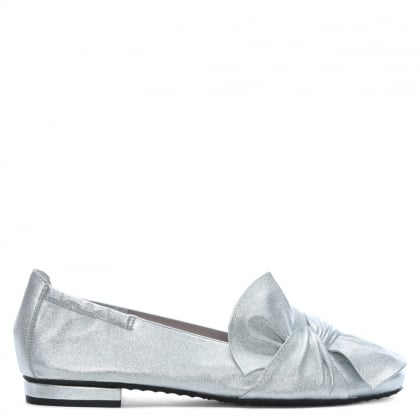 Silver Metallic Leather Bow Ballet Pumps