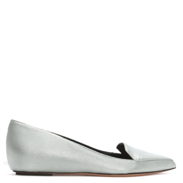 Silver Tumbled Leather Pointed Toe Loafers