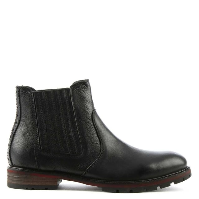 Silvestri Black Leather Chelsea Boot