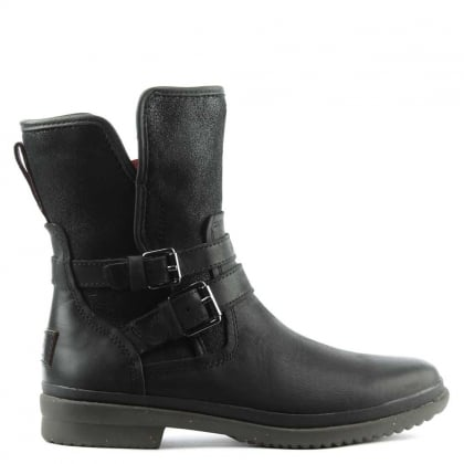 Simmens Black Leather Strap & Buckle Boot