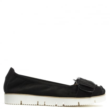 Sing Sing Black Suede Chunky Buckle Loafer