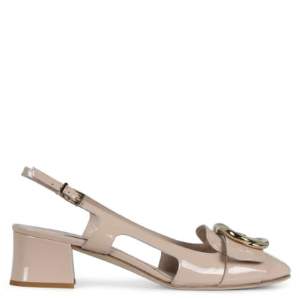 Siret Nude Patent Leather Round Toe Buckled Sling Back Shoes