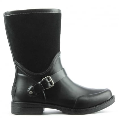 Sivada Black Suede & Rubber Rain Boot