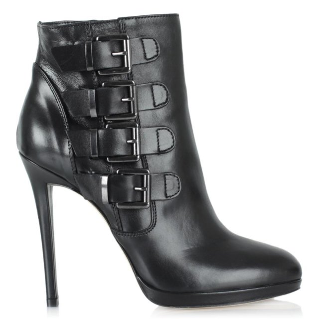 Skara Black Leather Buckled Stiletto Ankle Boot