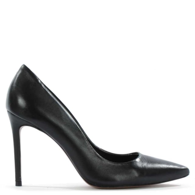 Skycrambe Black Leather High Court Shoe