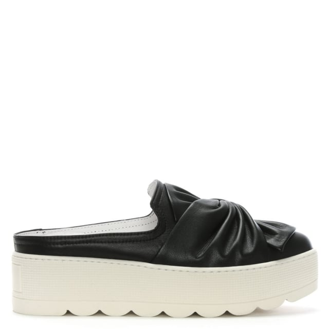 Skyler Black Leather Knotted Backless Flatform Mules